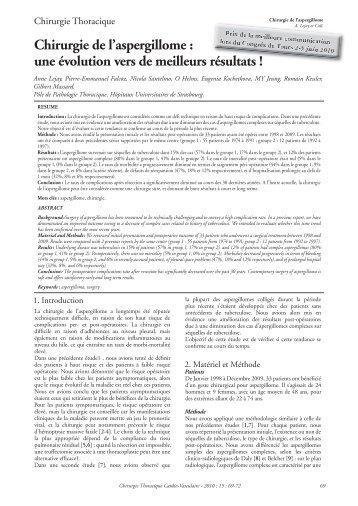 Chirurgie de l'aspergillome : une évolution vers de meilleurs ... - sfctcv
