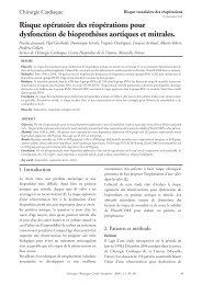 Risque opératoire des réopérations pour dysfonction de ... - sfctcv