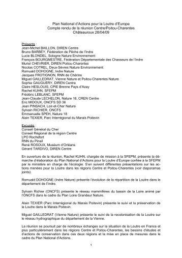 Plan National d'Actions pour la Loutre d'Europe Compte rendu de la ...