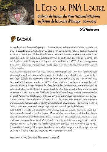 L'Echo du PNA Loutre n°4 - Société Française pour l'Etude et la ...