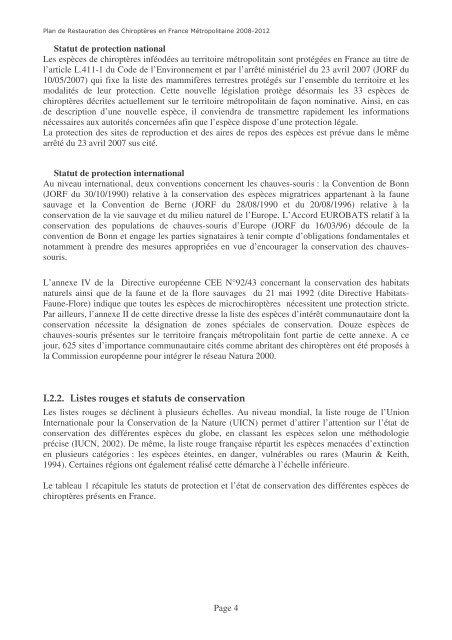 Plan - Société Française pour l'Etude et la Protection des Mammifères