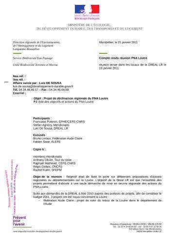 Compte-rendu Languedoc-Roussillon - janvier 2011 - Société ...