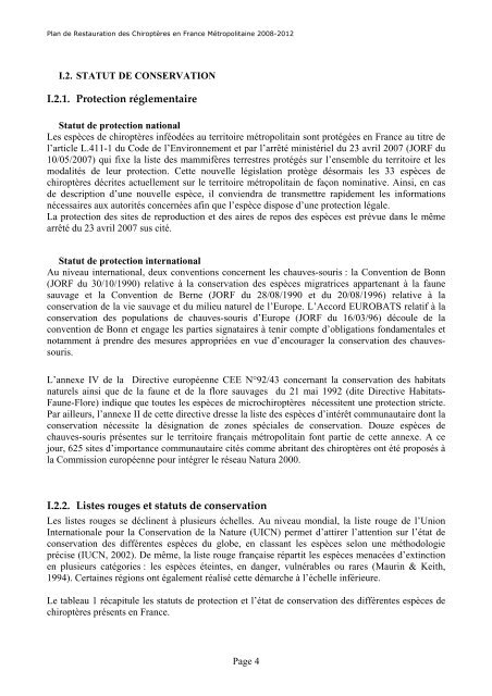 F. Godineau et D. Pain, 2007, Plan de restauration des chiroptères ...