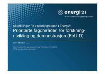 Energi21: vindkraftgruppens anbefalinger for fremtidig satsning - SFFE