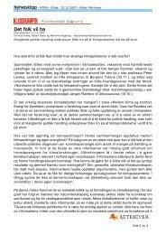 kronikk i Klassekampen 11.desember 2007 - SFFE