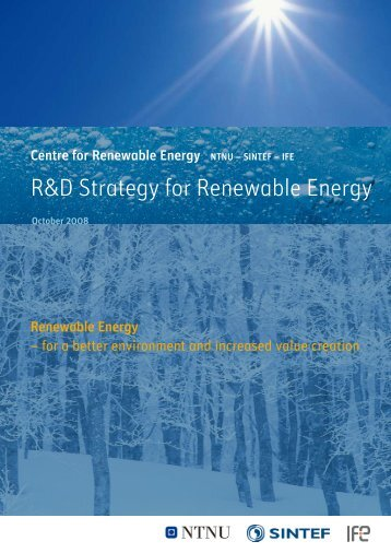 R&D Strategy for Renewable Energy - SFFE