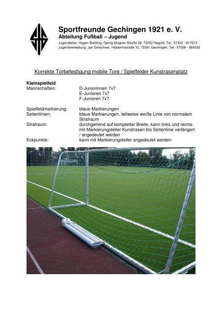 Spielfeldaufbau Tore Sfg Fussball
