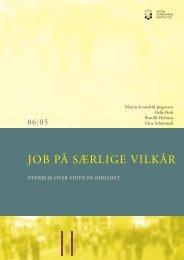 Job på særlige vilkår, Overblik over viden på området - SFI