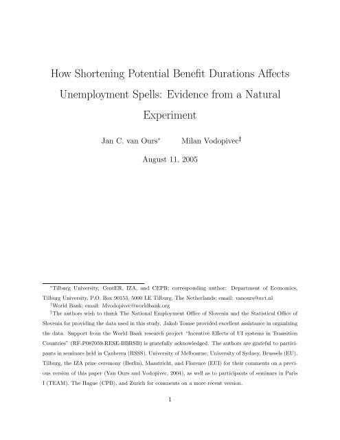 How Shortening Potential Benefit Durations Affects ... - SFI