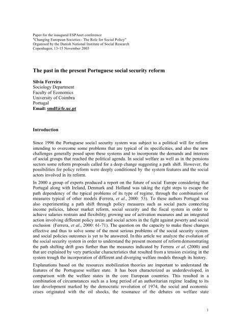 The past in the present Portuguese social security reform - SFI