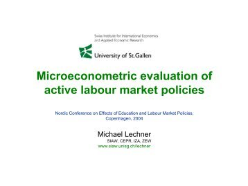 Microeconometric evaluation of active labour market policies - SFI