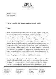 Mi1jödepartementet 103 33 Stockho1m REMISS ... - SFIR