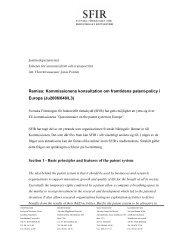 Remiss: Kommissionens konsultation om framtidens patent ... - SFIR