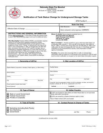 Notification of Tank Status Change for Underground Storage Tanks