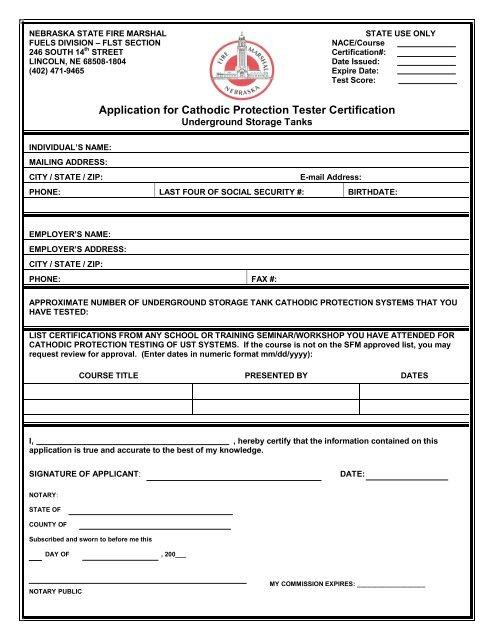 Application for Individual Certification - Nebraska State Fire Marshal