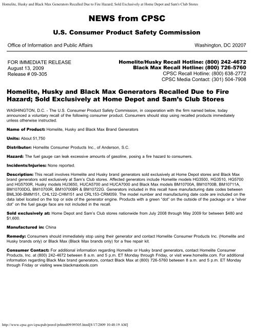 Homelite, Husky and Black Max Generators Recalled Due to Fire ...