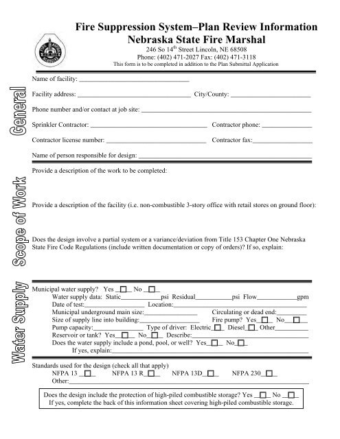 Fire Suppression System – Plan Review Information Form