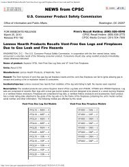 Lennox Hearth Products Recalls Vent-Free Gas Logs and ...