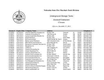 Closure Contractors List - Nebraska State Fire Marshal
