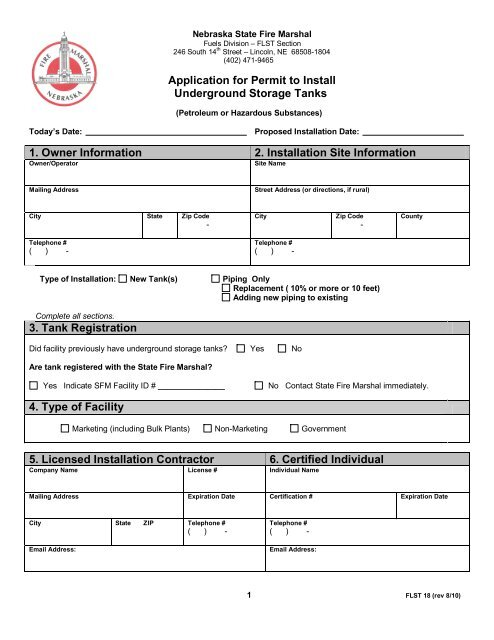 Application for Permit to Install Underground Storage Tanks 1 ...