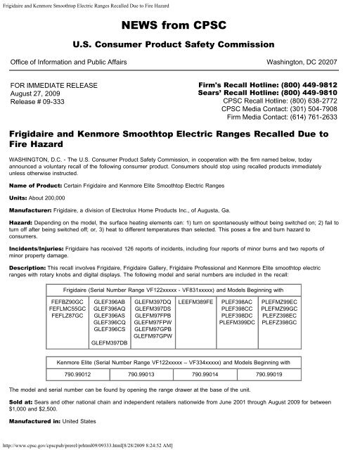 Frigidaire and Kenmore Smoothtop Electric Ranges Recalled Due to ...
