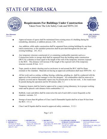 Requirements For Buildings Under Construction - Nebraska State ...