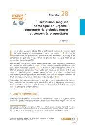 Transfusion sanguine homologue en urgence : concentrés ... - SFMU
