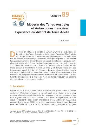 Médecin des Terres Australes et Antarctiques françaises ... - SFMU