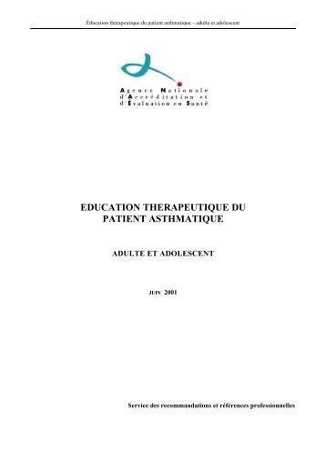 Education thérapeutique du patient asthmatique. Adulte et ... - SFMU