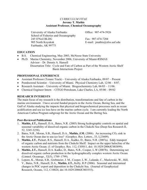 Curriculum Vitae Jeremy T Mathis Assistant Professor Sfos