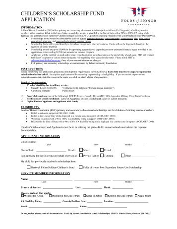 CHILDREN'S SCHOLARSHIP FUND APPLICATION