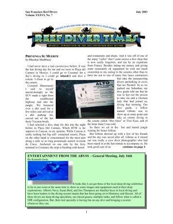 July 2003 - San Francisco Reef Divers