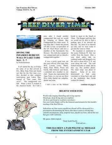 October 2003 - San Francisco Reef Divers