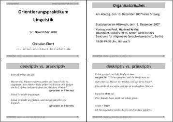 Orientierungspraktikum Linguistik