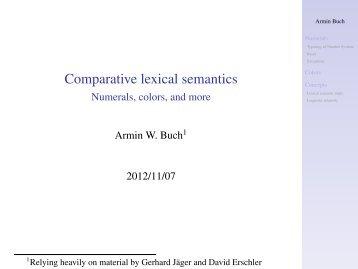 Comparative lexical semantics - Numerals, colors, and more