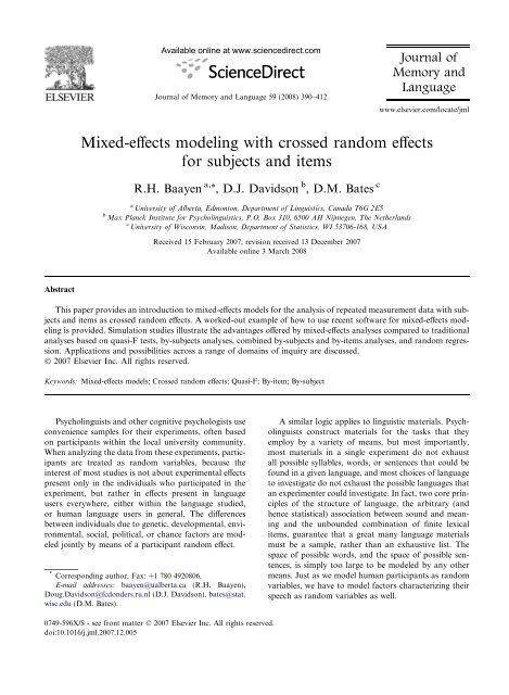 Mixed-effects modeling with crossed random effects for