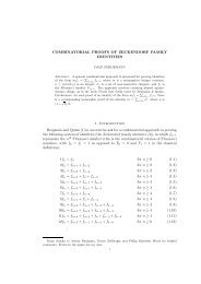 COMBINATORIAL PROOFS OF ZECKENDORF FAMILY IDENTITIES ...