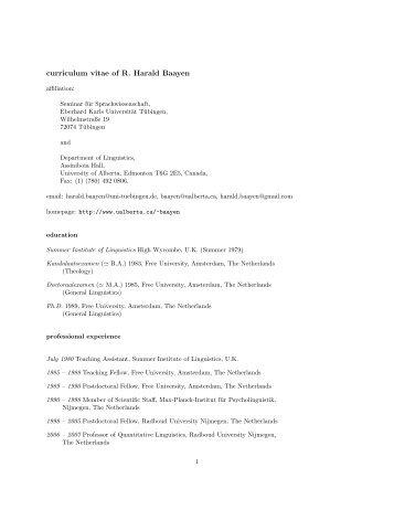 curriculum vitae - Seminar für Sprachwissenschaft an der Universität ...
