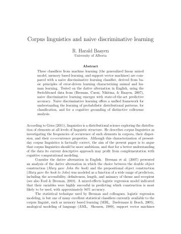 Corpus linguistics and naive discriminative learning - University of ...