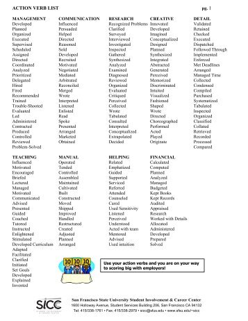 what is a action verb list