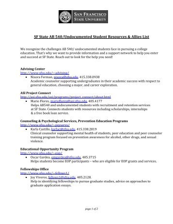 SF State AB 540/Undocumented Student Resources & Allies List