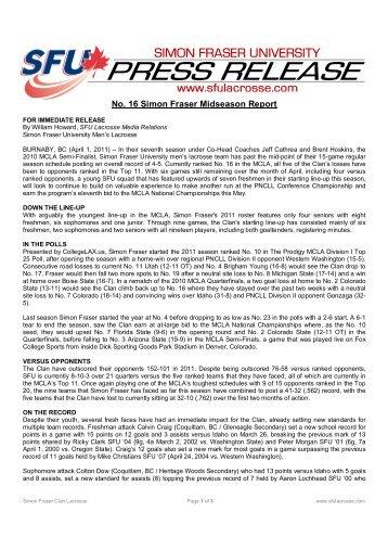 Midseason Report - Simon Fraser University Men's Lacrosse