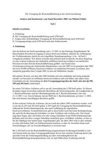 Die Versagung der Restschuldbefreiung in der Insolvenzordnung ...