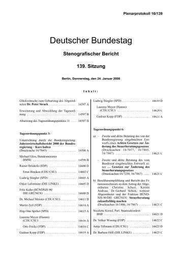 Stenografischer Bericht - Deutscher Bundestag