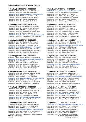 Spielplan Kreisliga C Arnsberg Gruppe 1 - SG Balve/Garbeck