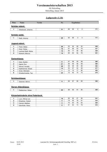 Vereinsmeisterschaften 2013 - zur SG-Holzolling