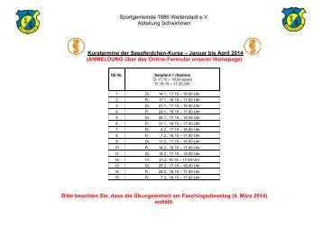 Kurstermine - SG Weiterstadt
