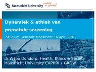 Dynamiek & ethiek van prenatale screening - Studium Generale ...