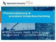 Preconceptiezorg & prenatale kinderbescherming - Studium Generale