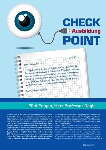 DOZ Interview - Studiengänge Augenoptik/Optometrie/Vision Science